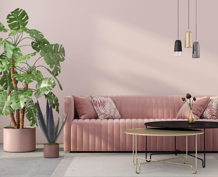 Roze woonkamer met een bank van velvet - ton sur ton