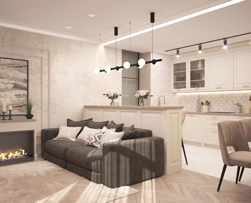 Sfeervolle woonkamer met donkere bank - ton sur ton